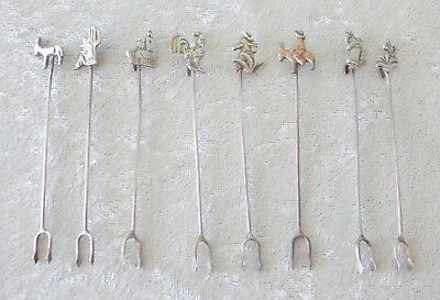 8 Mexico 850 silver cocktail forks lot garnish spear man horse rooster sombrero