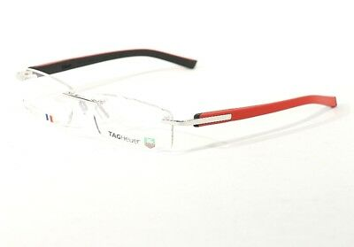 Tag Heuer Trends Rimless Optical Eyeglasses Frame Shiny Red Black Th 8108 005