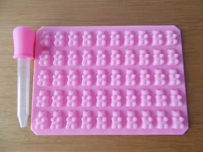 50 Cavity Mini Silicone Gummy Bear Sweet Mould Chocolate  and dropper Pink #02