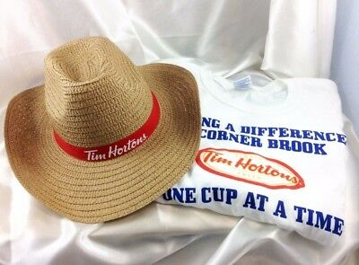 Tim Hortons T-Shirt and  Straw Cowboy Hat Lot 2 Unisex
