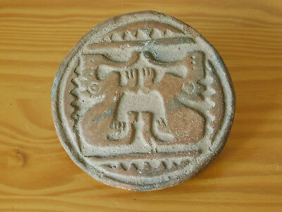 Large - Ancient Aztec Mexican Maya Terracota Stamp Seal