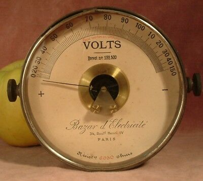antique c1900 brass voltmeter bazar d 39 electricite paris. Black Bedroom Furniture Sets. Home Design Ideas