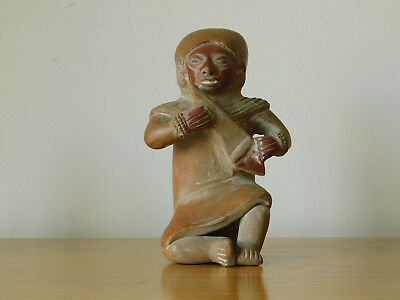 Ancient Pre-Columbian Aztec Mexican Mayan Antique Clay Terracotta Flute Figure