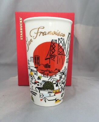 Starbucks San Francisco Ceramic Tumbler Travel Cup 12 Oz 2015. NWT!