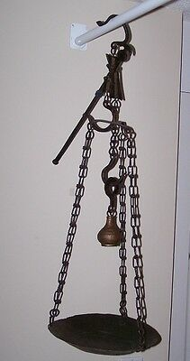 Extremely Rare Antique Vintage Brass Hanging Balance Beam Scale Weight Scale