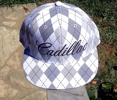 Cadillac Gray / White Fitted Hat Baseball Cap, Licensed GM New $21.99 See Sizes