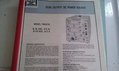 POWER DESIGNS MODEL TW347A  power supply Instruction Manual with schematic