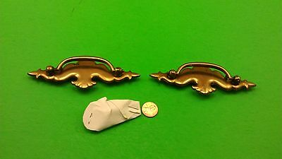 "2 Antique Vintage Bronze Dresser Drawer Handles ""hovering Owls"""