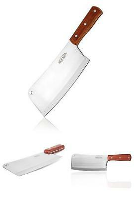 Professional Stainless Steel Chef Butcher Knife  Meat Cleaver Chopper Wooden NEW