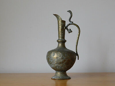 c.18th - Antique India Indian Solid Brass Hand Crafted Cobra Vase Pitcher Jug