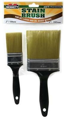 Bennett 2PK STAIN Paint Brush, 2 and 4 in, 100 percent Polyester PINCEAU PEINT