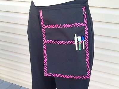 Black pink zebra Trim Hip Apron Waitress Bar Server Restaurant Classyaprons