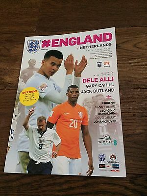 England V Netherlands- Wembley- 29 March 2016- Official Programme