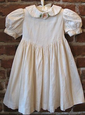 toddler dress, ivory dupioni silk, embroidered collar & sleeves, silk rosette