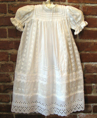 long christening gown, embroidered vintage cotton & lace, with slip