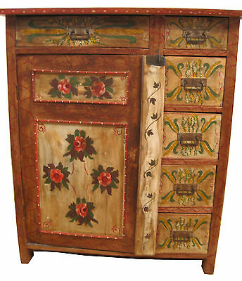 1880s Painted Pennsylvania Dutch Cabinet w/ 6 drawers