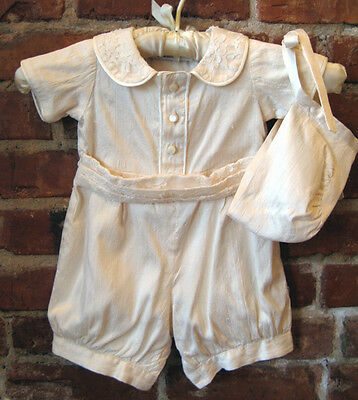 silk Victorian style Christening baby romper with bonnet - lace collar