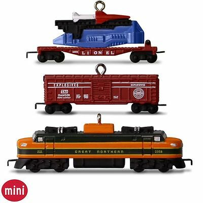 2016 Hallmark Lionel 2533W Great Northern Freight Miniature Ornament Set of 3