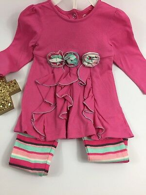 Baby Gear Girls Outfit Set 12 months Top Leggings Pink Ruffles Stripes Rosettes
