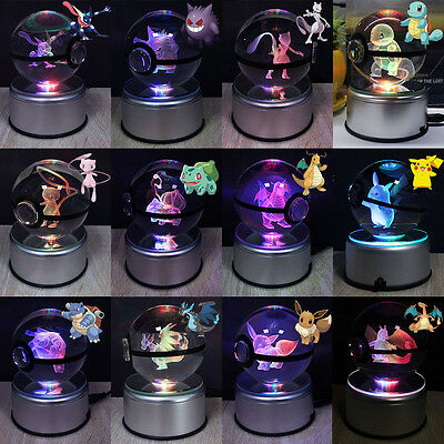 Pokemon Elf Pikachu 3D Crystal Pokeball LED Night Light Desk Table Lamp Gift