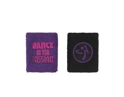 Zumba  The Mission Wristbands 2pk Purple /Black New In Package + Free Shipping..