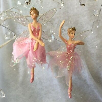 18cm Gisela Graham Pink Resin Ballerina Christmas Decoration Fairy Princess