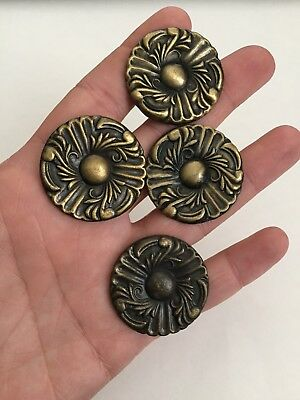 Vintage Drawer Cabinet Knob Pulls Brass tone Swirl design Lot of 4
