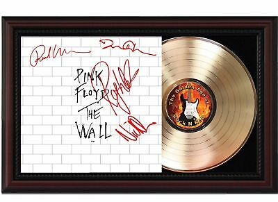 Pink Floyd The Wall 24k Gold LP Record With Reprinted Autographs In Wood Frame