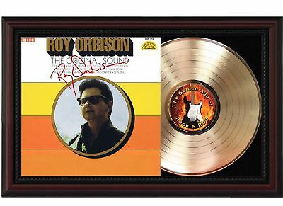 Roy Orbison - 24k Gold LP Record With Reprinted Autograph In Cherry Wood Frame