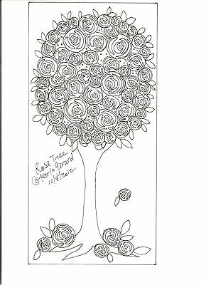RUG HOOK CRAFT PAPER PATTERN Rose Tree ABSTRACT FOLK ART Primitive Karla Gerard