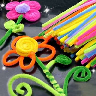 Lots 100X Chenille Stems Pipe Cleaners Kid Plush Creative DIY Education Toy HOT