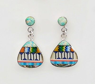 Exquisite Handcrafted Multicolor Spiny Opal Inlay .925 Silver Dangle Earrings