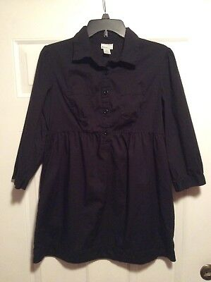 Womens Motherhood Maternity Black 3/4 Sleeve Button Blouse Size Medium