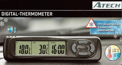 ATech Digital Indoor/Outdoor Thermometer Clock w/ Ice Alert for HOME CAR OFFICE