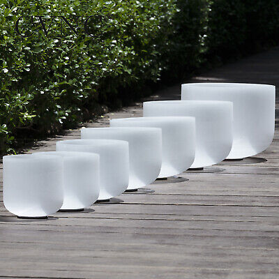 """Chakra Tuned Set of 7 Pieces Frosted Quartz Crystal Singing Bowls 6""""-12"""""""