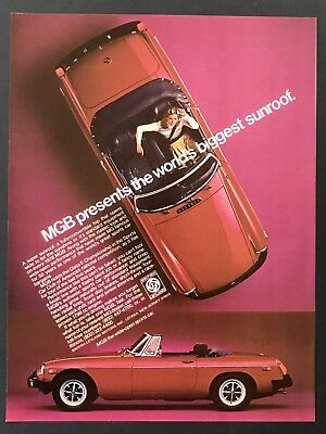 1976 Vintage Print Ad MGB Red Sports Car Image Convertible Sunroof