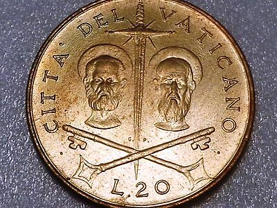 Vatican 1967 20 Lire Saints Peter and Paul Crossed Swords Paul VI UNC from Set