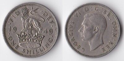 1949 Great Britain 1 shilling coin English version