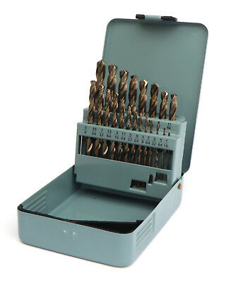21 Pc Drill Bit Set M35 Cobalt for Metal Aluminum, Stainless Steel 1/16-3/8 Inch