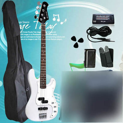 New White Quality Electric Bass Guitar with 20W AMP