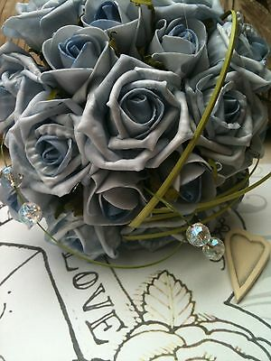 Vintage Shabby Chic Pale Blue Roses Beargrass Bouquet Brides Wedding Flowers