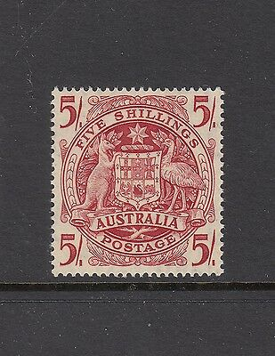 1949-64 Australian Coat-of-arms 5/- Carmine SG 224a, perfectly centred MUH.