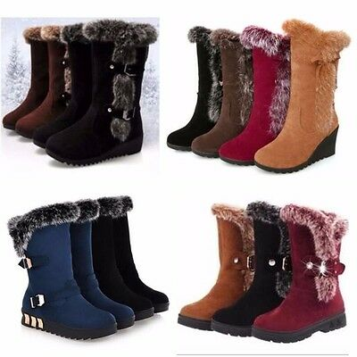 Women Winter Warm Mid Calf Snow Boots Thicken Fur Casual Outdoor Ankle Shoes