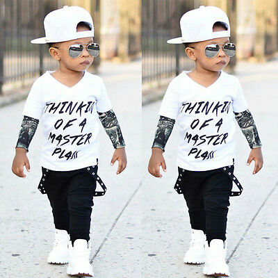 Newborn Toddler Baby Boys Sleeve T-shirt Tops+Long Pants Outfits Set Clothes