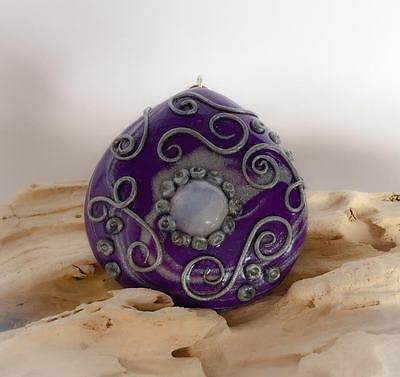 Handcrafted Pendant Clay & Moonstone with SS Bale 45mm x 47mm x 13mm - FREE POST