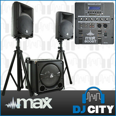 MAX 800BT Active 2.1 Party PA DJ Speaker System with Bluetooth and Subwoofer