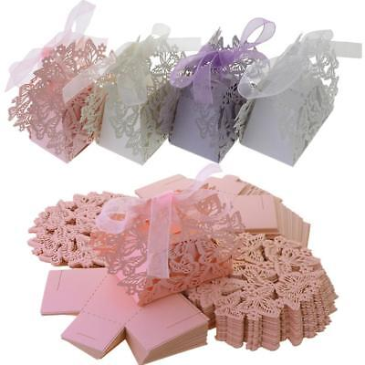 50X Butterfly Laser Cut Wedding Favor Box Chocolate Gift Candy Box Shower Party