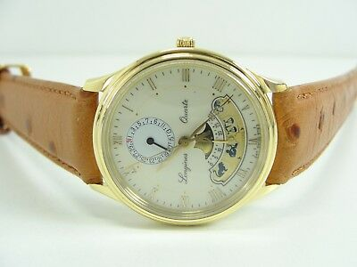 LONGINES PLANETARIUM 750er/18kt. GOLD HERRENUHR MONDPHASE MENS WATCH OROLOGIO