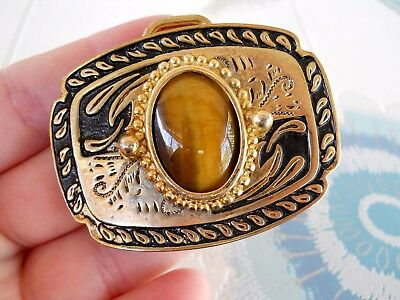 Vintage Rockabilly Country Western Gold Tone Tigers Eye Stone Centre Belt Buckle