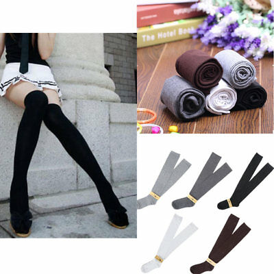 Solid Girls Ladies Long Cotton Stockings Women Thigh High Over The Knee Socks OA